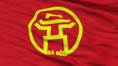 Hanoi City Close Up Waving Flag Animation