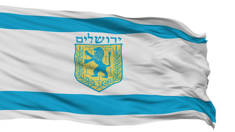 Jerusalem City Isolated Waving Flag Animation