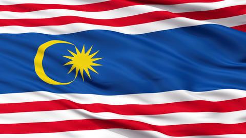 Kuala Lumpur City Close Up Waving Flag Animation