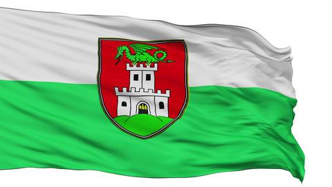 Ljubljana City Isolated Waving Flag Animation
