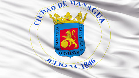 Managua City Close Up Waving Flag Animation