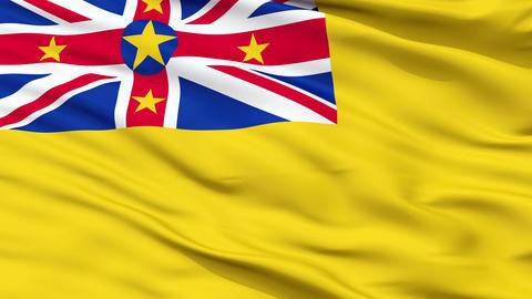 Niue City Close Up Waving Flag Animation