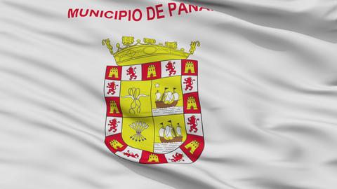 Panama City Close Up Waving Flag Animation