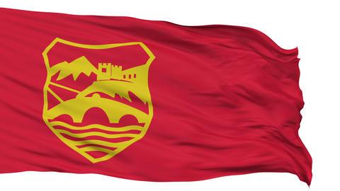 Skopje City Isolated Waving Flag Animation