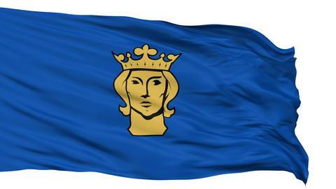 Stockholm City Isolated Waving Flag Animation