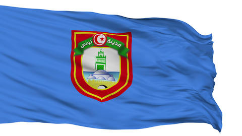 Tunis City Isolated Waving Flag Animation