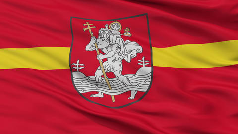 Vilnius City Close Up Waving Flag Animation