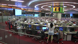 MARKET TRADING FLOOR CLOSING BELL RINGING INSIDE HONG KONG STOCK EXCHANGE Footage
