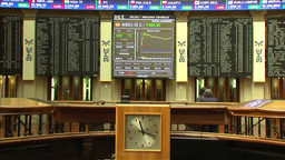 INSIDE MADRID STOCK EXCHANGE BME TICKERS AND SCREEN SHOWS STOCK PRICE Footage
