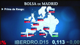 SCREEN MAP SHOWING EUROZONE AND EUROPEAN STOCK MARKET AT MADRID STOCK EXCHANGE Footage