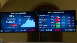 SCREENS SHOWING MID CAP STOCKS ON THE SPANISH IBEX EXCHANGE Footage