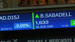 TICKER BOARD SHOWING MAIN CATALAN STOCKS TRADING STOCK EXCHANGE Footage