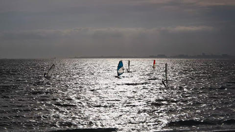 Windsurfing in Inage Beachfront Park Footage