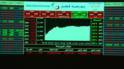 INSIDE QATAR STOCK EXCHANGE DISPLAYING SHARE MOVEMENT Footage