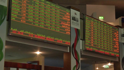 Inside Dubai financial market UAE stock exchange screen showing stock and share  Footage