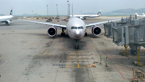 """Hong Kong - April 6, 2016: Airplane Company """"Aeroflot"""" goes to the parking lot f Footage"""
