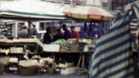 1961: Danish street open air farmers market merchants selling food Footage