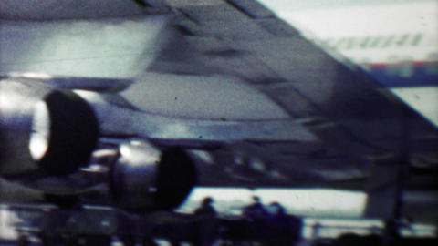 1961: Early 60's style woman deplaning Danish Airlines flight Footage
