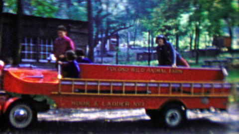 1961: Pocono Wild Animal Farm hook and ladder kids fire truck ride Footage