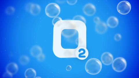Bubbles floating up on blue background with O2 Animation