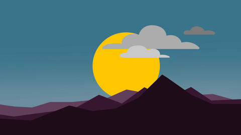 Abstract sunrise with mountain flat animation Animation