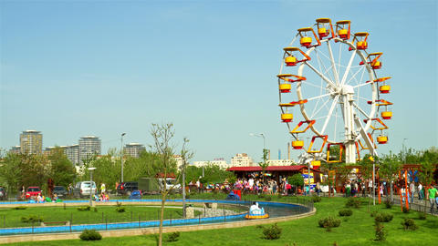 People Having Fun In Youths Public Amusement Park In Bucharest Live Action