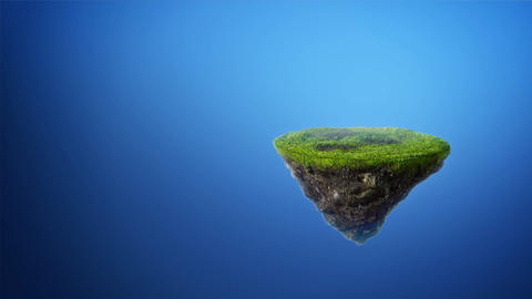 Flying rock island with grass 3d animation Animation