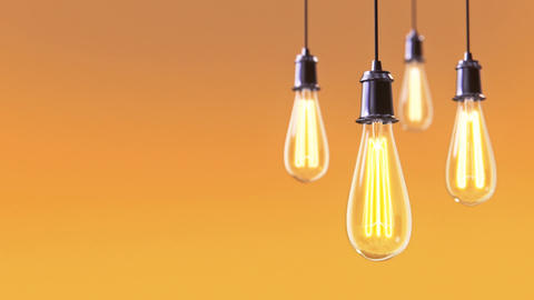 00:01 | 00:10 1× Group of vintage bulb lights 3d animation Animation