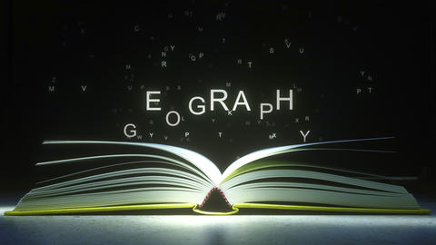 GEOGRAPHY caption made of glowing letters from the open book. 3D animation ライブ動画