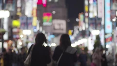 Soft focus - Night scenery of Japanese entertainment area Kabukicho Shinjuku GIF
