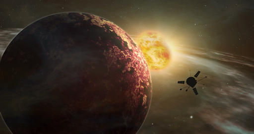 Space probe exotic solar system exploration Stock Video Footage