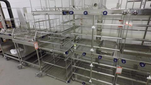 Metal racks in hospital , Steel wire shelves Footage