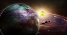 Space probe distant exoplanet exploration Animation