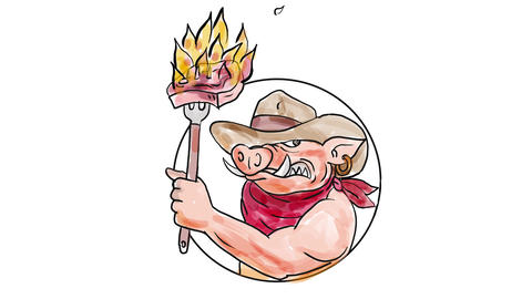 Cowboy Wild Pig Holding Barbecue Steak Watercolor 2D Animation Animation