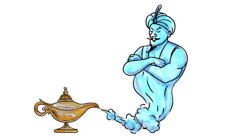 Genie Coming Out of Golden Oil Lamp Watercolor 2D Animation Animation