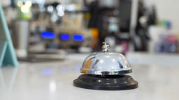 Restaurant bell vintage with hand Archivo