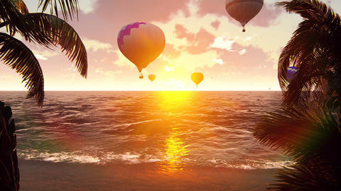 Hot Air Balloons Over the blue sea at sunset. Beautiful summer background Animation
