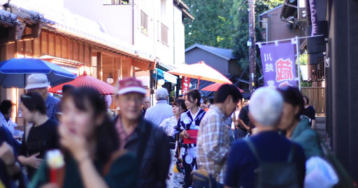 Walking people at old fashioned street at Kawagoe middle shot shallow focus Live Action