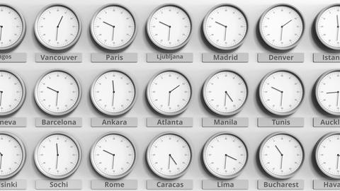 Round clock showing Atlanta, Usa time within world time zones. 3D animation Live Action