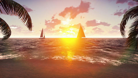 The yacht sails past a tropical island on the background of a beautiful sunset. フォト