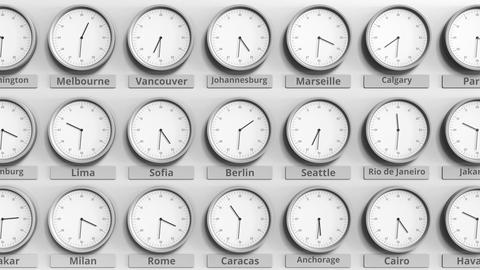 Round clock showing Berlin, Germany time within world time zones. 3D animation Footage