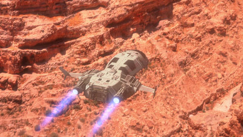 Futuristic Spaceship flying over a Planet Animation