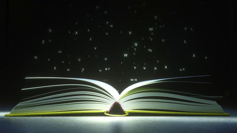Glowing letters mysteriously vaporize from the open book. Reading or literature Footage