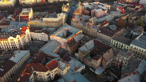 Aerial view of the historical center of Lviv. Shooting with drone ビデオ