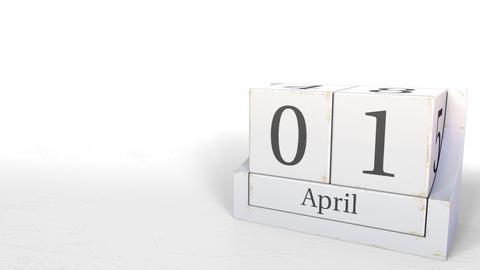 April 1 date on wooden blocks calendar. 3D animation Live Action