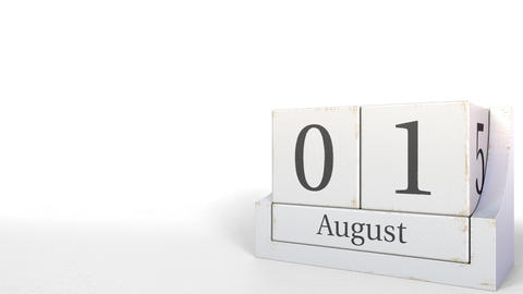 August 1 date on wooden blocks calendar. 3D animation Live Action