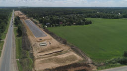 Highway construction Aerial view Footage