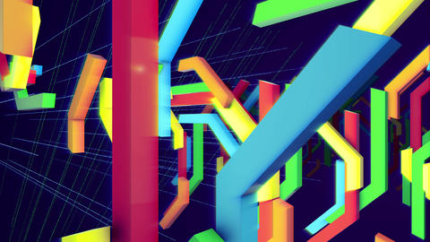 Moving multicolored curvy techno bars Animation
