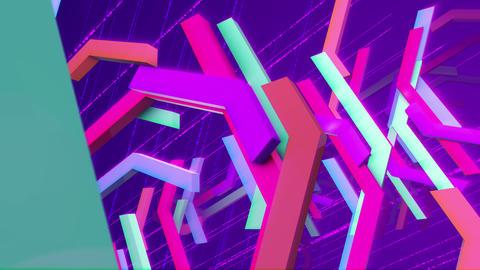 Flying multicolored zigzag techno bars Animation