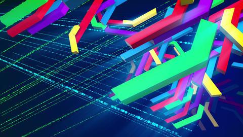 Falling colorful zigzag techno bars Animation